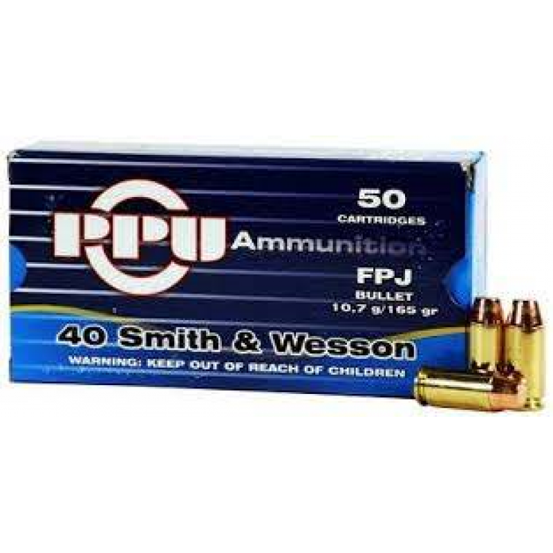 40 Smith and Wesson  TMJ 180gr PPU Handgun Ammunition Pack 50 (200 Available)