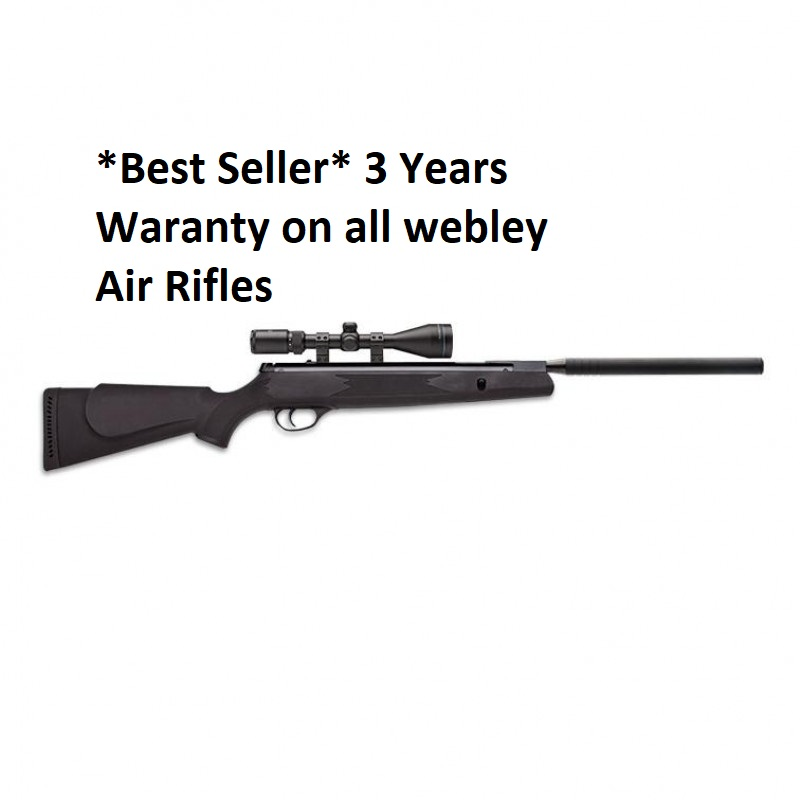 """WEBLEY VMX QUANTUM AIR RIFLE BLACK POLYMER .22 (5.5) High Power with Silencer **With Upgraded Scope & Mounts"""" + Pellets +Rifle Bag"""